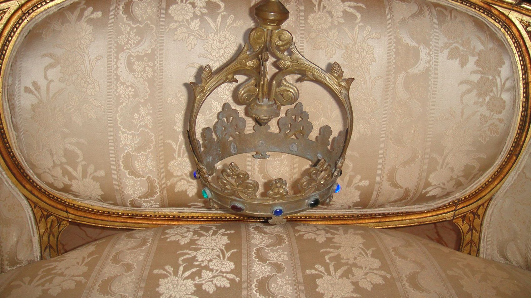 gorgeous antique french bronze ciel de lit w cabochon stones bed canopy crown ebay. Black Bedroom Furniture Sets. Home Design Ideas